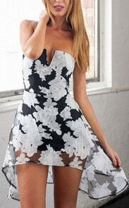 Black V Wire Strapless Collarless Floral High Low Dress
