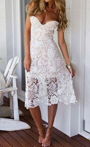 White Strapless Floral Crochet Lace Dress