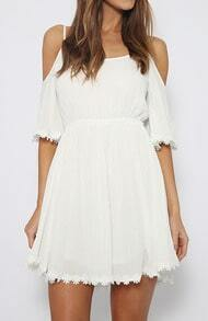 White Spaghetti Strap Peplum Hem Dress