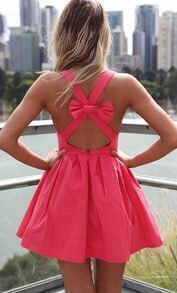 Red Tying Criss Cross Back Bow Pleated Dress
