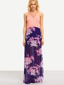 Pink Blue V Neck Floral Split Maxi Dress