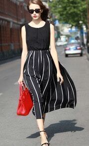 Black Sleeveless Vertical Stripe Long Dress