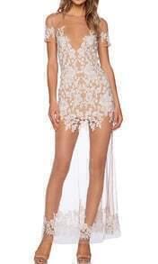 White Short Sleeve Backless Sheer Mesh Dress