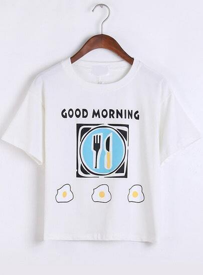 White Short Sleeve Breakfast Print T-Shirt
