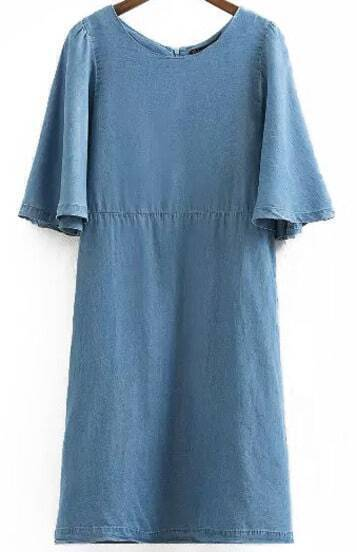 Blue Ruffle Sleeve Loose Denim Dress
