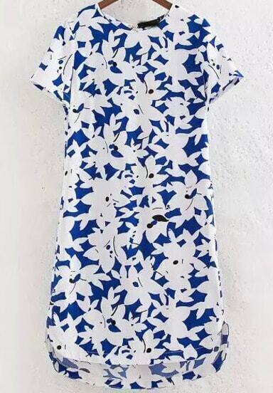 Blue Short Sleeve Floral Asymmetrical Dress