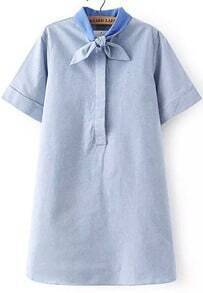 Blue Bow Collar Short Sleeve Loose Dress