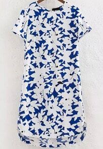 Blue Short Sleeve Floral Asymmetrical Dress