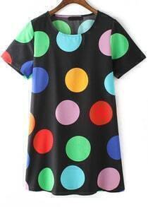 Black Short Sleeve Spotty Polka Dot Straight Dress
