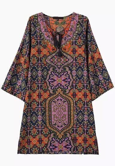 Multicolor Knotted Collar Tribal Print Loose Dress