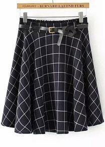 Navy Elastic Waist Plaid Pleated Skirt