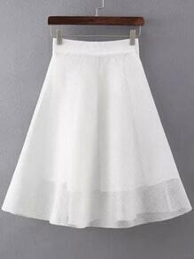 White Zipper Hollow Mesh Skirt