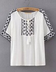 White Knotted Collar Tribal Embroidered Blouse