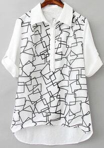 White Lapel Long Sleeve Geometric Print Dip Hem Blouse
