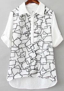 White Lapel Long Sleeve Geometric Print Dip Hem Blouse