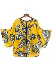 Yellow V Neck Floral Loose Blouse