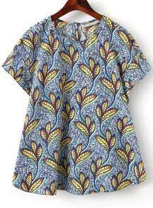 Blue Short Sleeve Leaves Print Loose Blouse