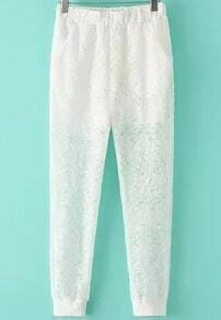 White Elastic Waist Hollow Lace Pant