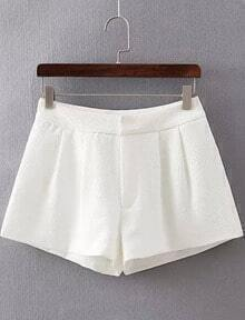 White Pockets Wide Leg Shorts