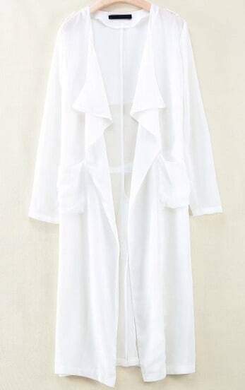 White Long Sleeve Epaulet Pockets Outerwear