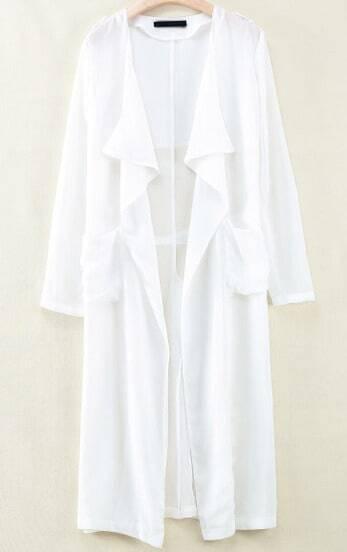 White Long Sleeve Epaulet Pockets Outerwear