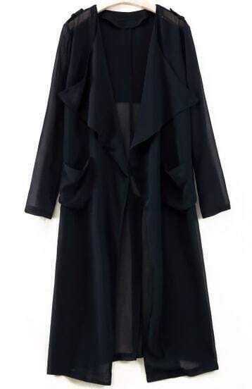 Black Long Sleeve Epaulet Pockets Outerwear