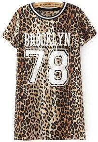 Leopard Short Sleeve BROOKLYN 78 Print T-Shirt
