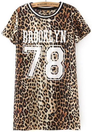 Leopard Short Sleeve BROOKLYN 78 Print T-Shirt