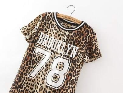 Leopard short sleeve brooklyn 78 print t shirt shein for T shirt printing brooklyn