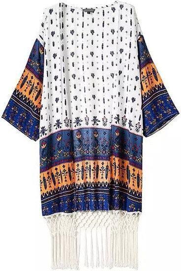 Navy Yellow Tribal Print Tassel Kimono