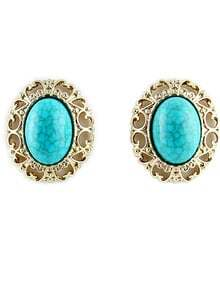 New Arrival Alloy Blue Gemstone Ladies Earrings