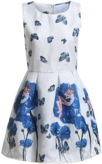 White Sleeveless Blue Butterfly Print Flare Dress
