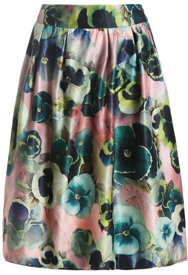 Multicolor Floral Flare Midi Skirt