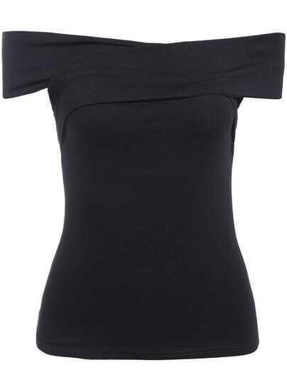 Black Off the Shoulder Slim Blouse