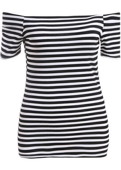 Black White Off the Shoulder Striped Blouse