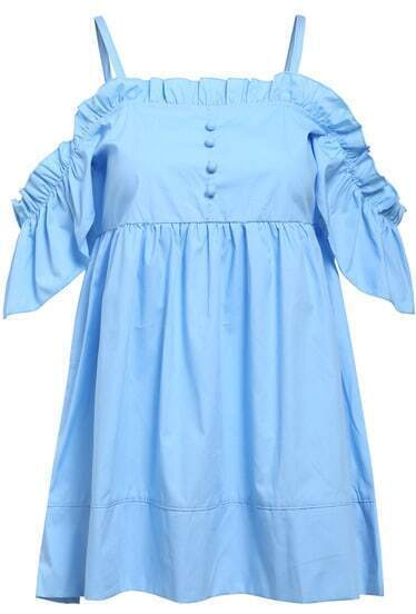 Blue Off the Shoulder Buttons Ruffle Top