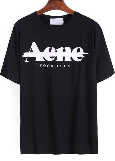 Black Short Sleeve Letters Print Loose T-Shirt