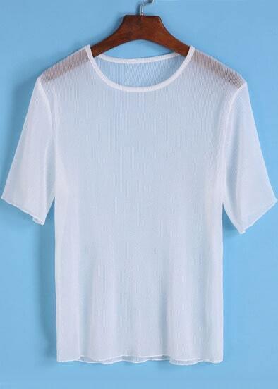 white round neck short sleeve sheer t
