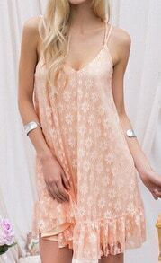 Pink Spaghetti Strap Backless Frills Lace Dress
