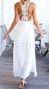 White Sleeveless Backless Split Long Dress