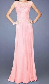 Pink Sleeveless Lace Floor Length Dress