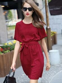 Red Shirtwaist Short Sleeve Tie-Waist Casual Dress
