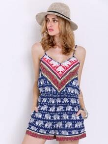 Navy Spaghetti Strap Tribal Playsuit