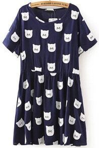 Navy Short Sleeve Cats Print Pleated Dress