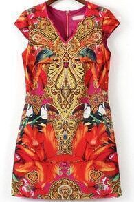 Red V Neck Cap Sleeve Totem Print Dress