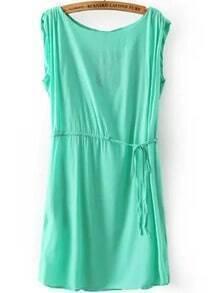 Green Round Neck Sleeveless Drawstring Loose Dress