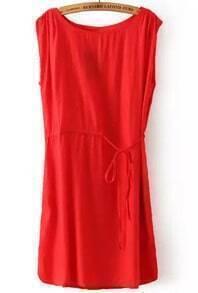 Red Round Neck Sleeveless Drawstring Loose Dress
