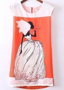 Orange Sleeveless Wedding Beauty Print Dress