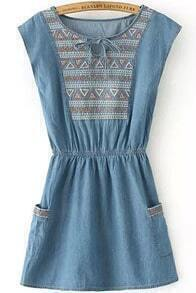 Blue Knotted Collar Tribal Embroidered Denim Dress