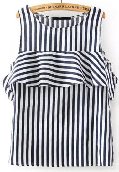 Navy White Sleeveless Vertical Stripe Ruffle Blouse